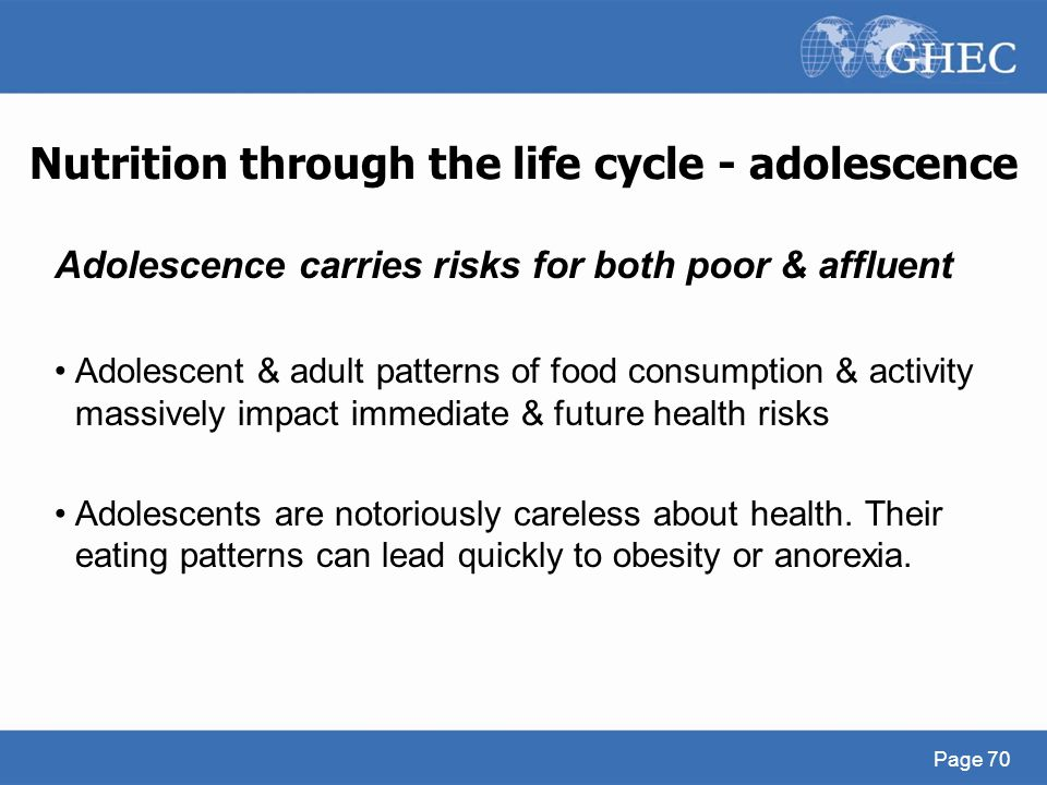 Nutrition through the life cycle - adolescence