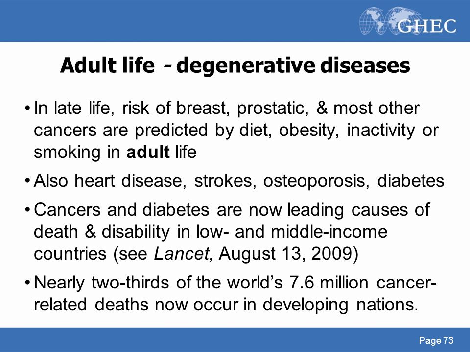 Adult life - degenerative diseases