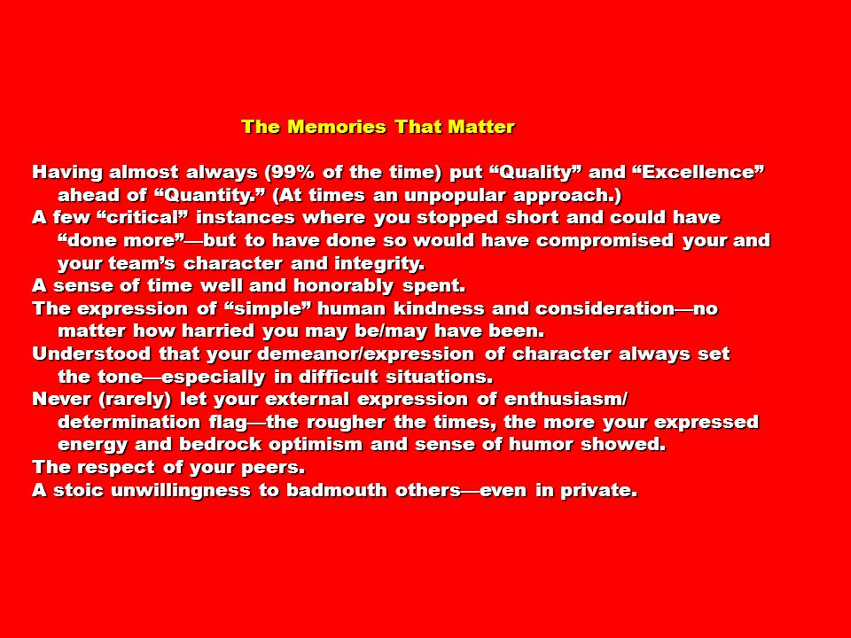 The Memories That Matter