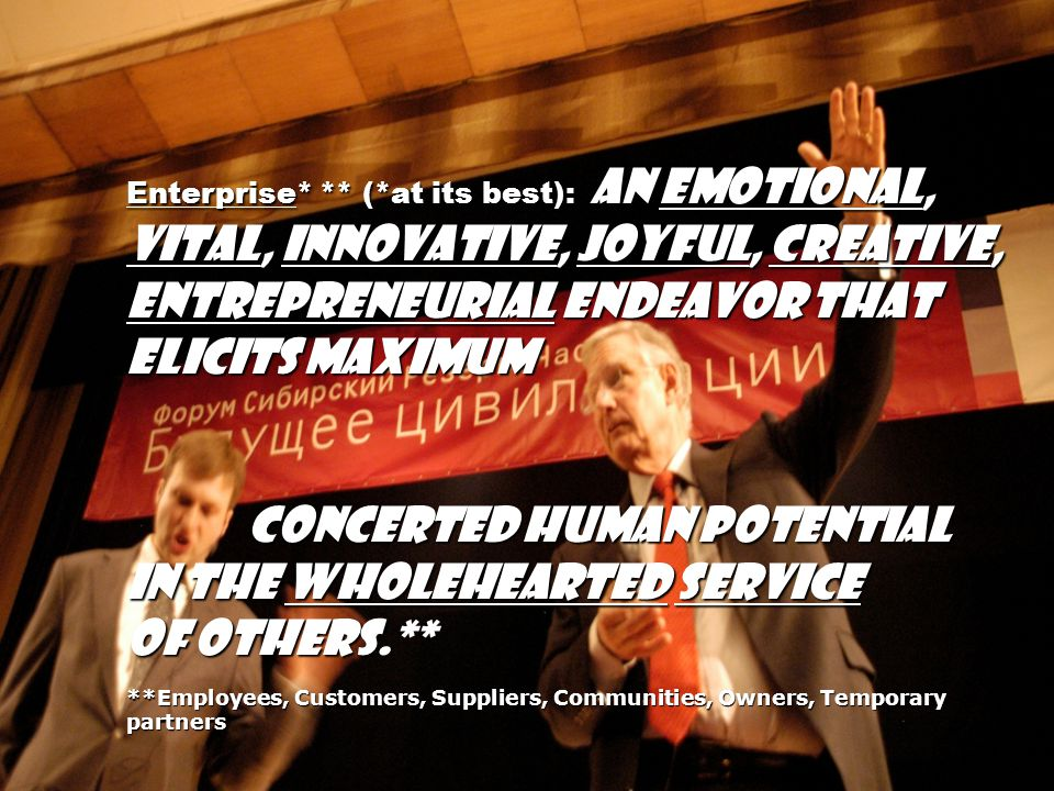 concerted human potential in the wholehearted service