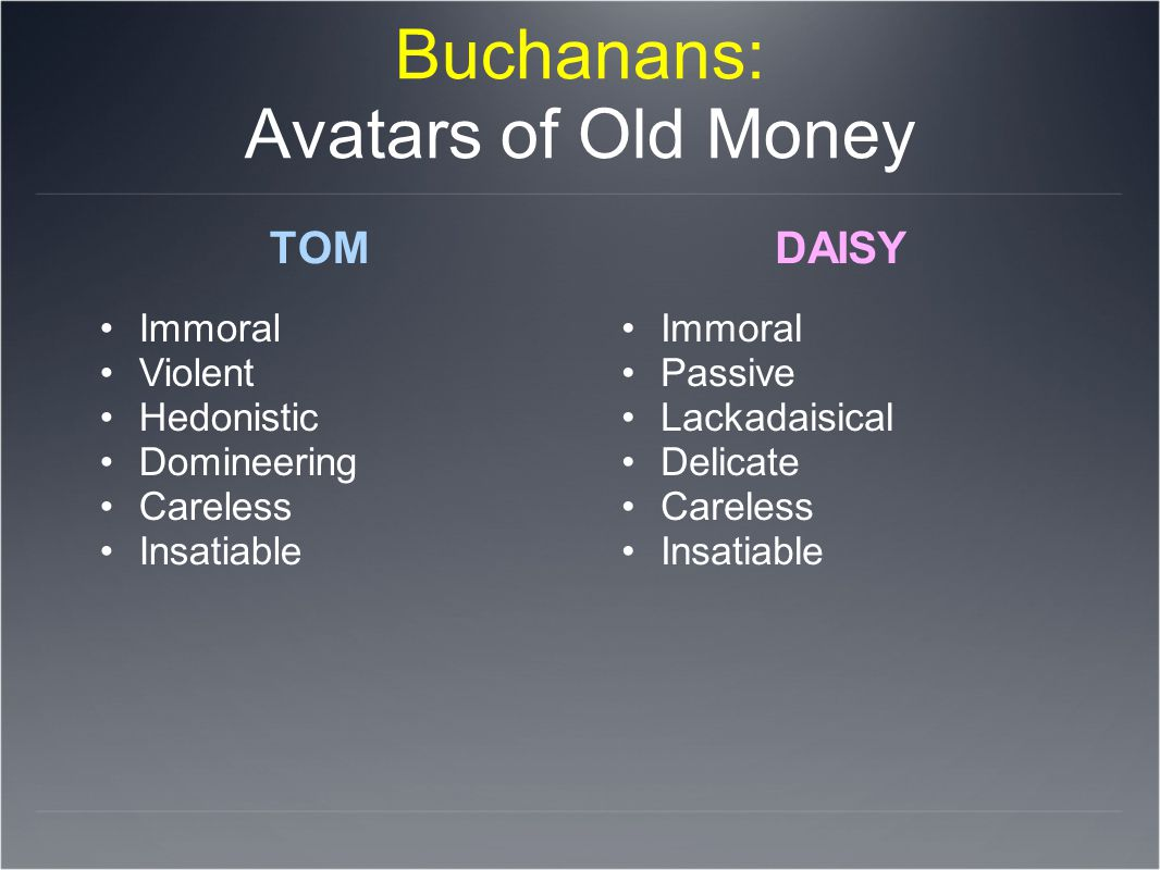Buchanans: Avatars of Old Money