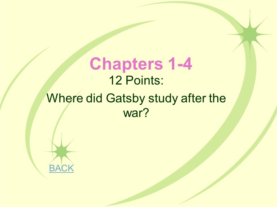 12 Points: Where did Gatsby study after the war