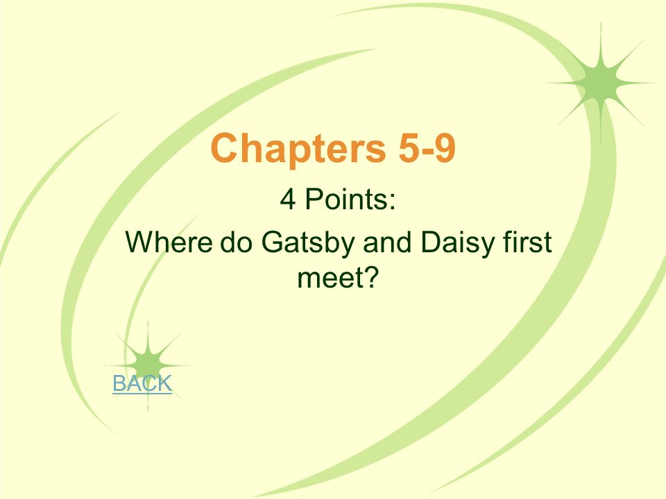 4 Points: Where do Gatsby and Daisy first meet