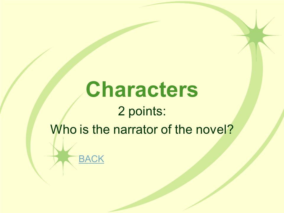 2 points: Who is the narrator of the novel