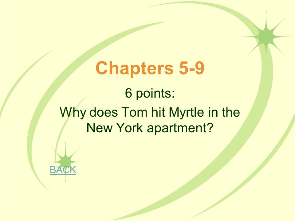 6 points: Why does Tom hit Myrtle in the New York apartment