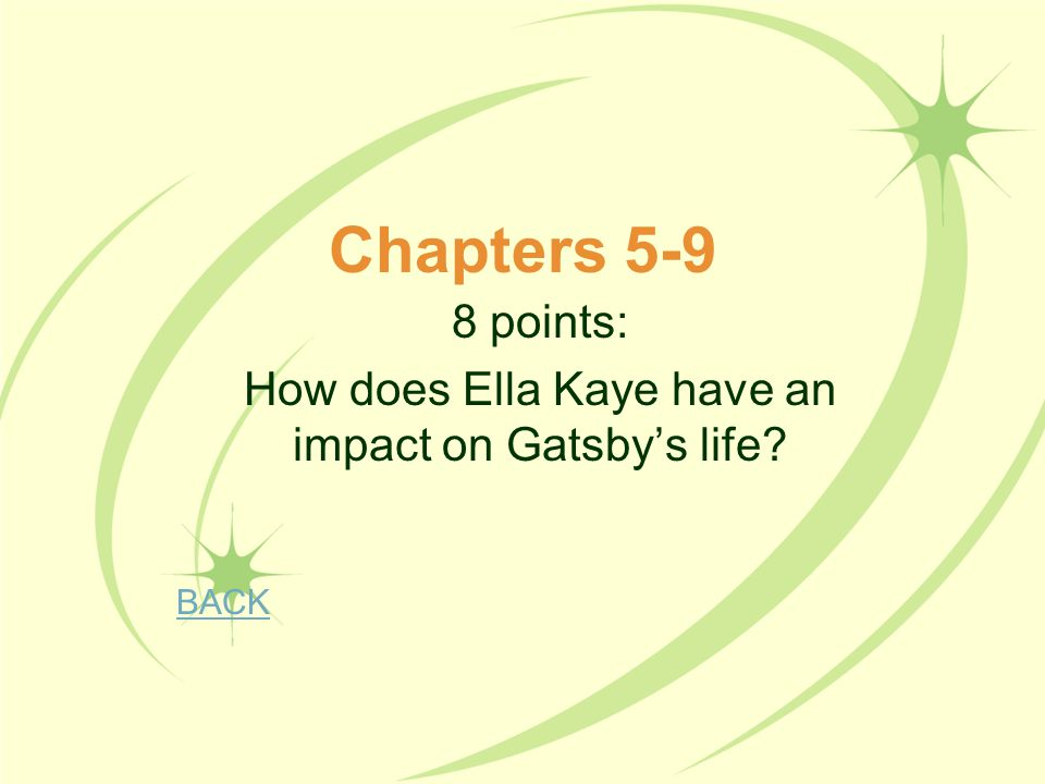 8 points: How does Ella Kaye have an impact on Gatsby's life