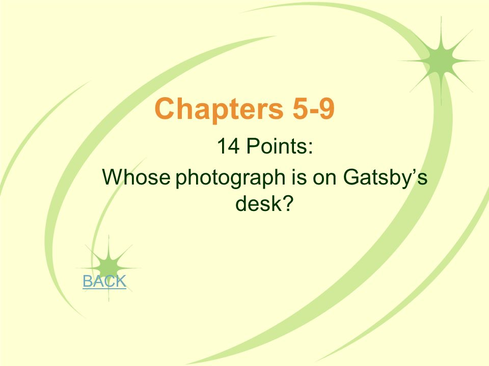 14 Points: Whose photograph is on Gatsby's desk