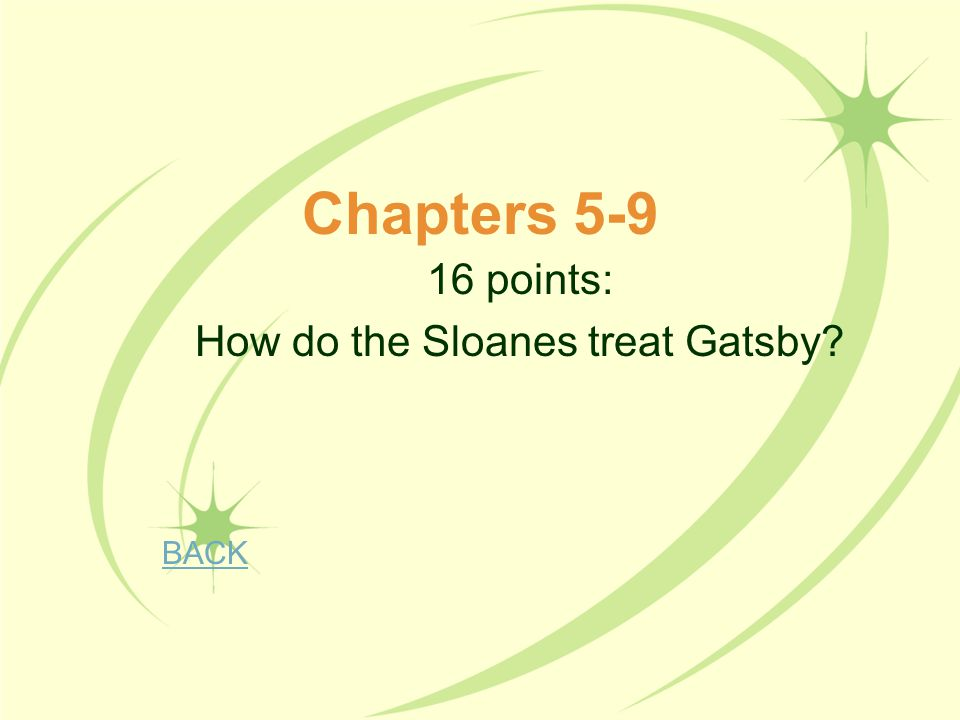 16 points: How do the Sloanes treat Gatsby