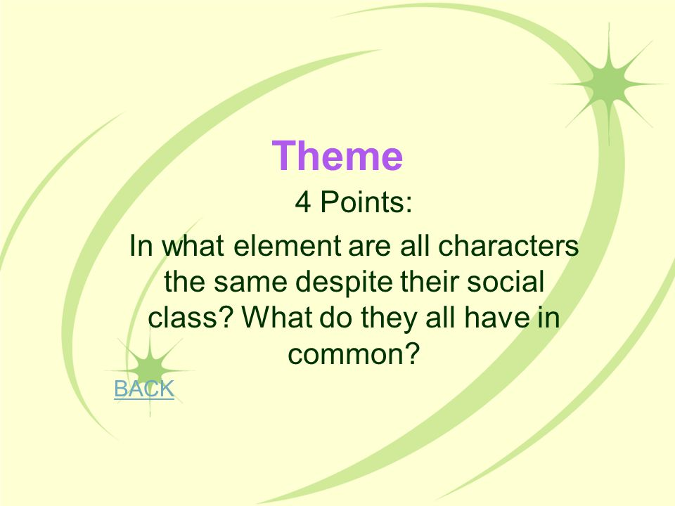 Theme 4 Points: In what element are all characters the same despite their social class What do they all have in common