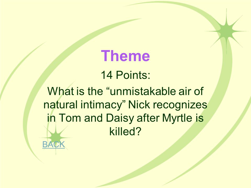 Theme 14 Points: What is the unmistakable air of natural intimacy Nick recognizes in Tom and Daisy after Myrtle is killed