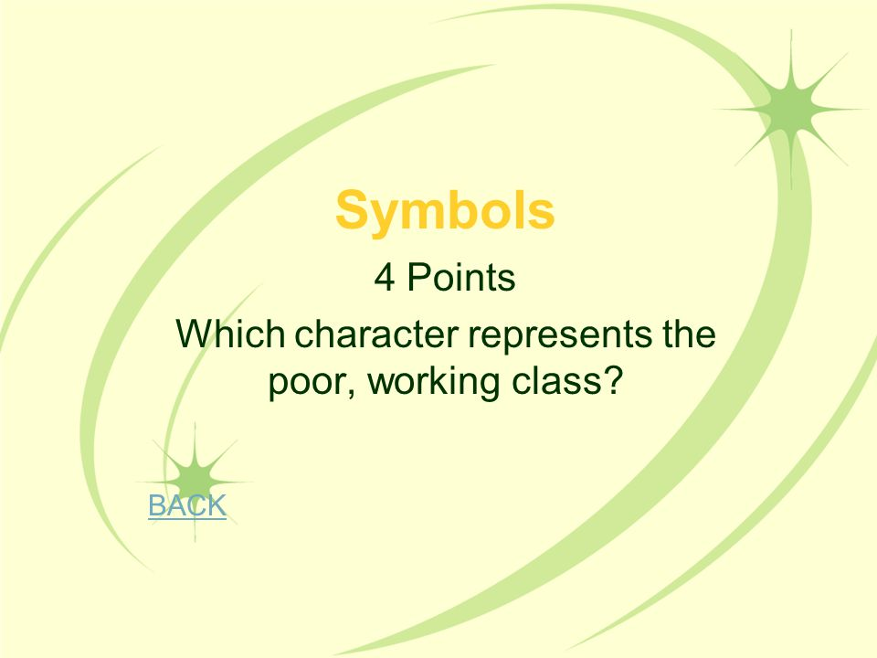 4 Points Which character represents the poor, working class