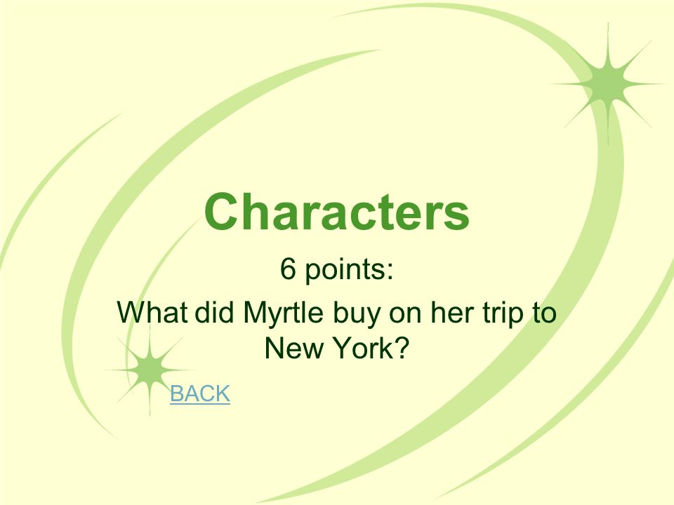 6 points: What did Myrtle buy on her trip to New York