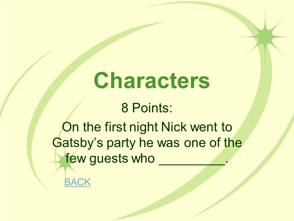Characters 8 Points: On the first night Nick went to Gatsby's party he was one of the few guests who _________.