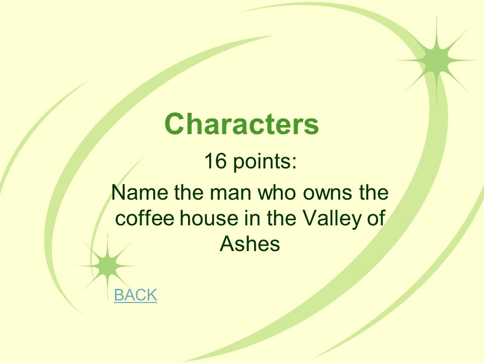 Name the man who owns the coffee house in the Valley of Ashes