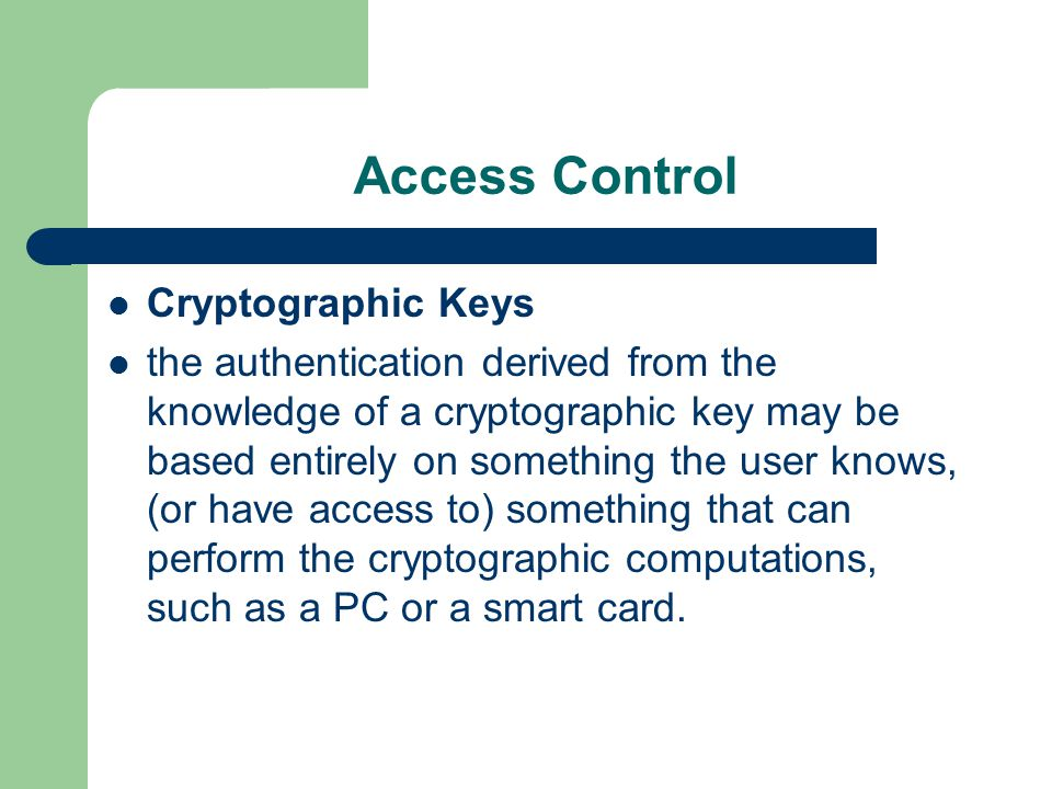 Access Control Cryptographic Keys