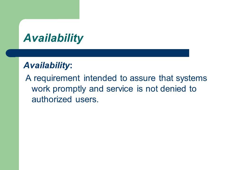 Availability Availability: