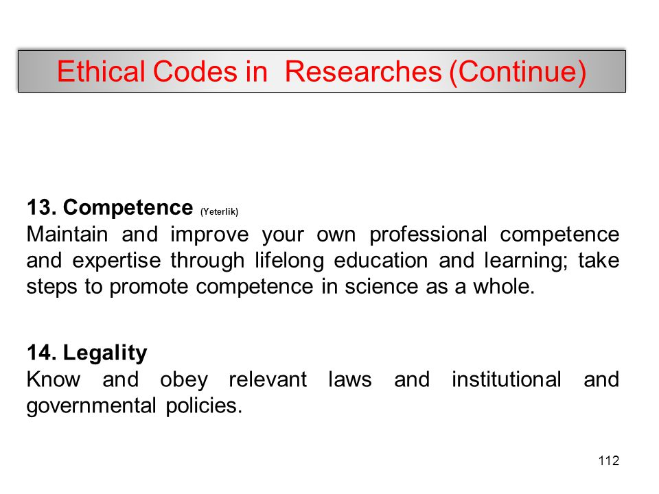 Ethical Codes in Researches (Continue)