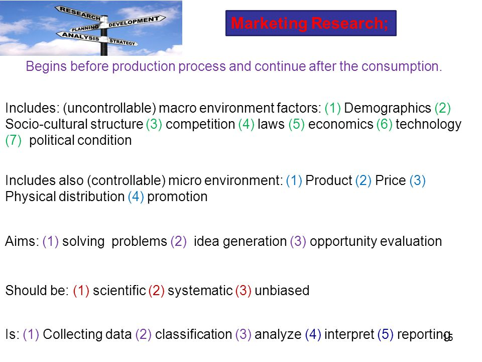 Marketing Research; Begins before production process and continue after the consumption.