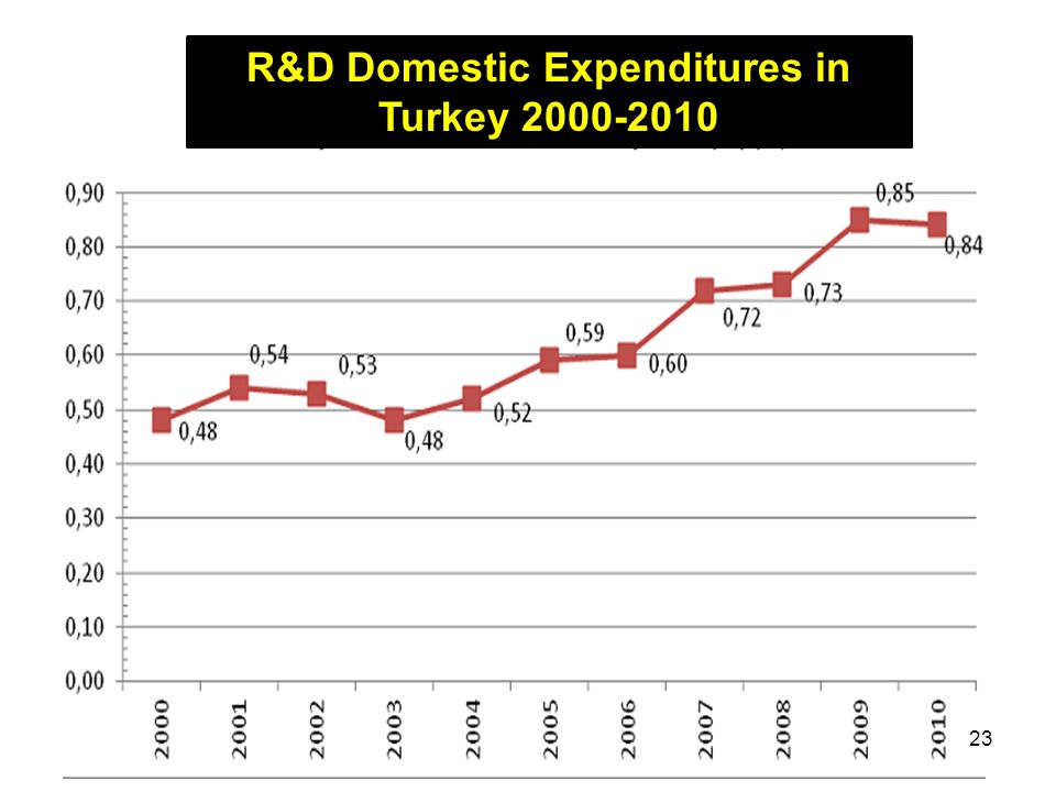 R&D Domestic Expenditures in Turkey 2000-2010