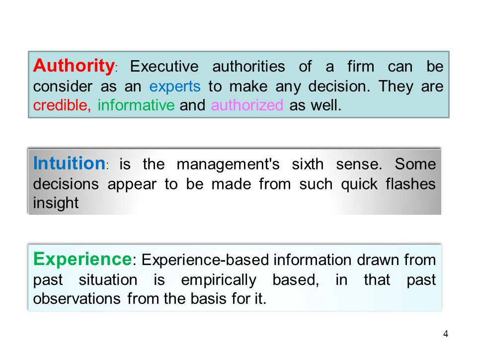 Authority: Executive authorities of a firm can be consider as an experts to make any decision. They are credible, informative and authorized as well.