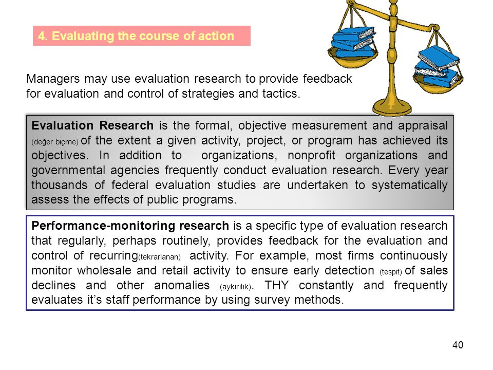4. Evaluating the course of action