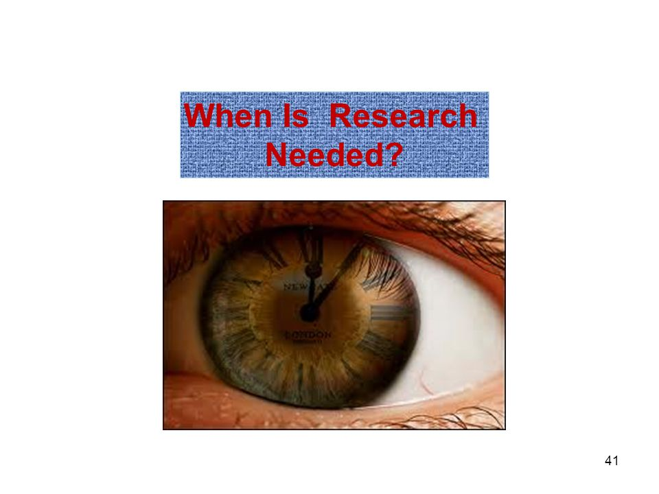 When Is Research Needed