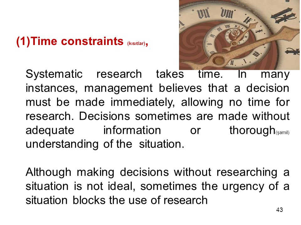 Time constraints (kısıtlar),