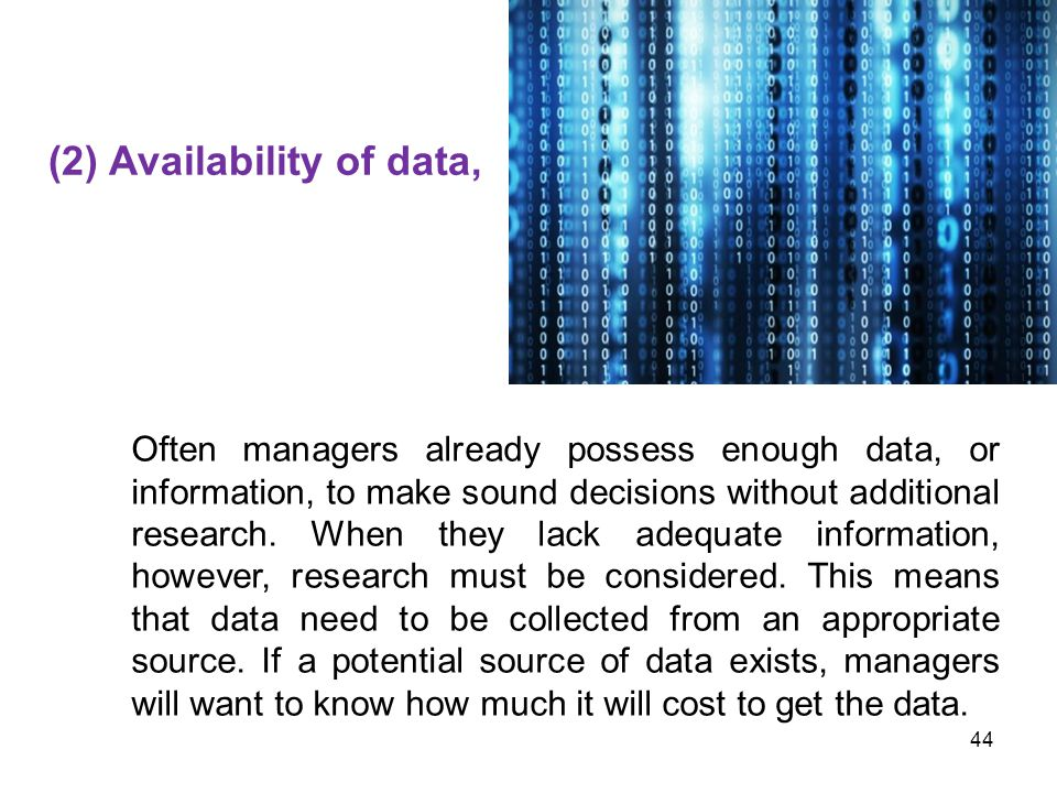 (2) Availability of data,