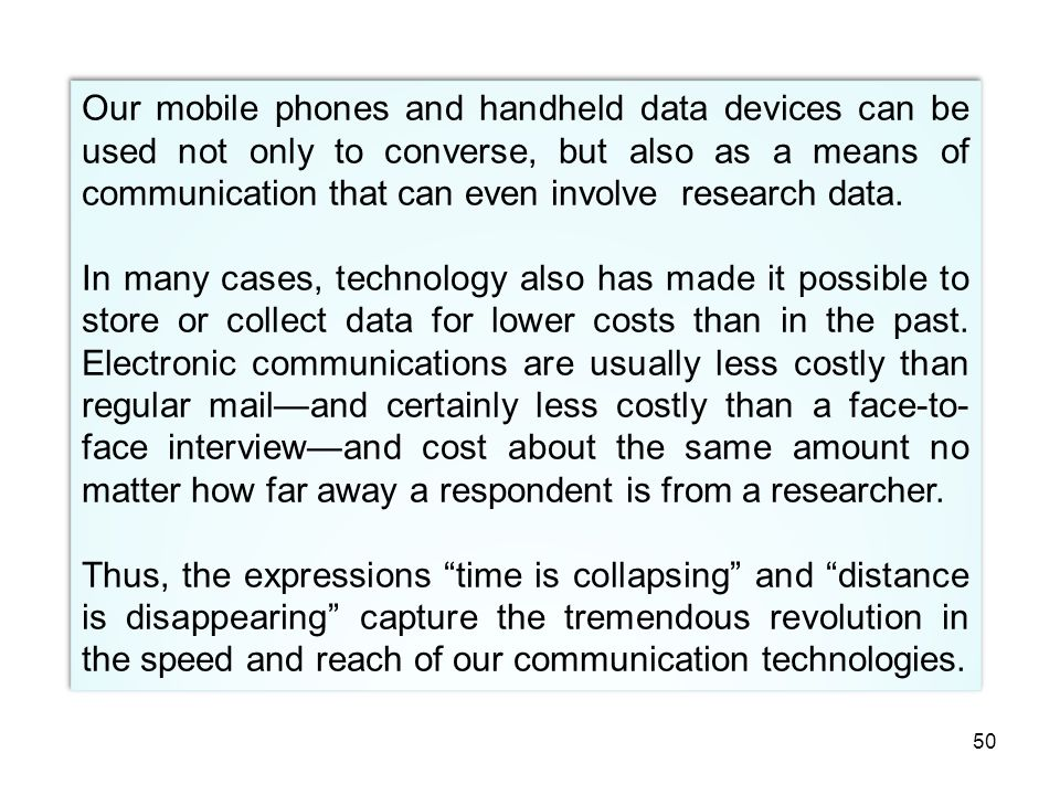 Our mobile phones and handheld data devices can be used not only to converse, but also as a means of communication that can even involve research data.