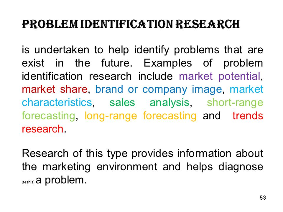 Problem identification research