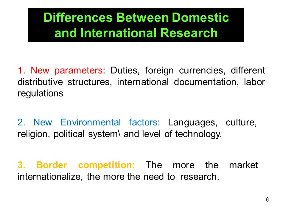 Differences Between Domestic and International Research