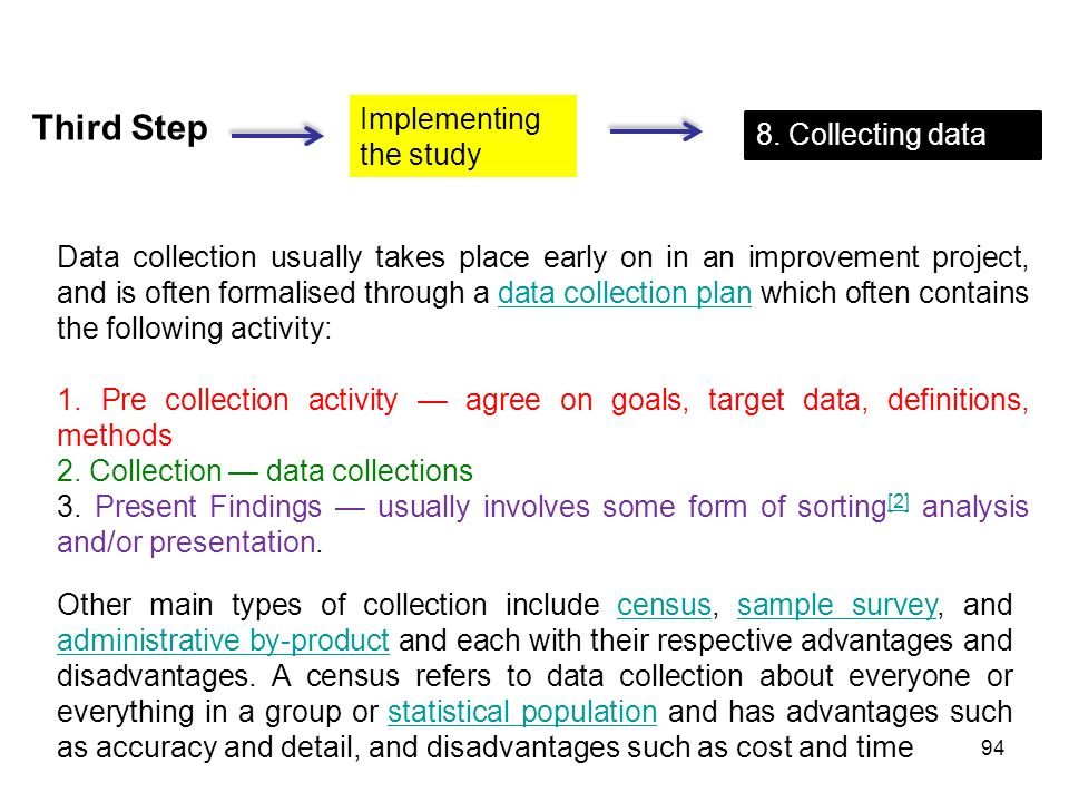 Third Step Implementing the study 8. Collecting data