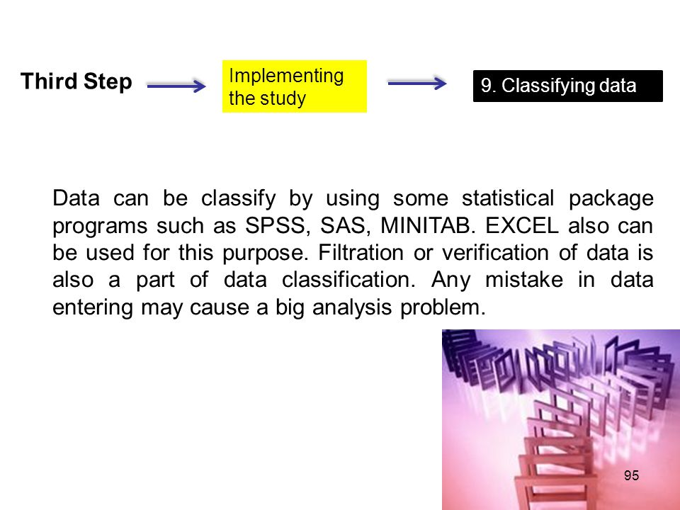 Third Step Implementing. the study. 9. Classifying data.