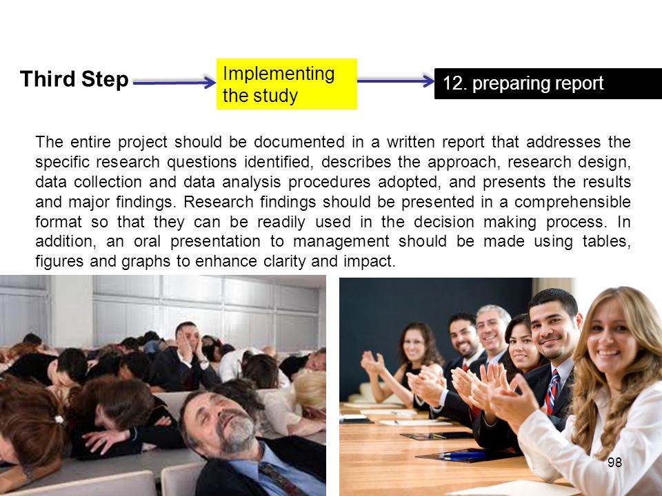 Third Step Implementing the study 12. preparing report