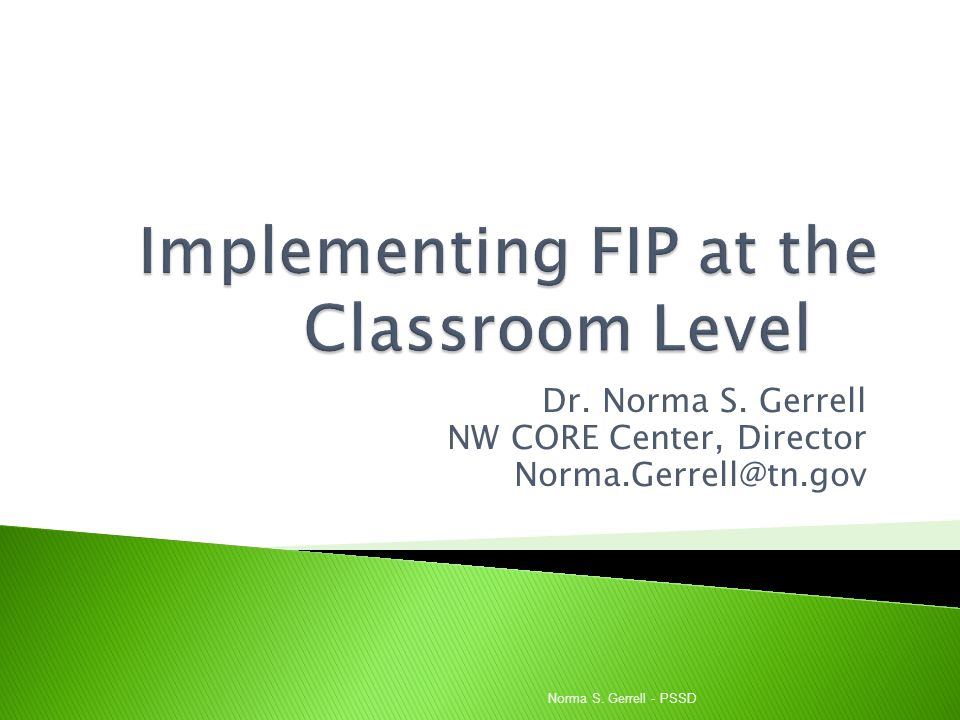 Implementing FIP at the Classroom Level