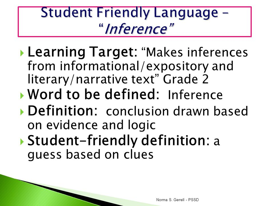 Student Friendly Language – Inference