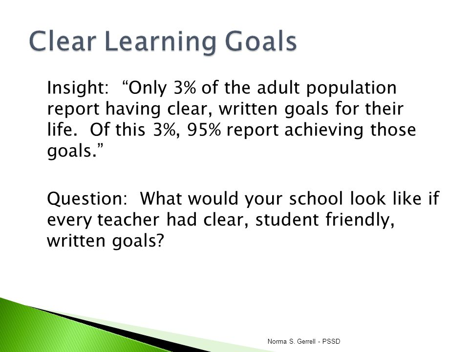Clear Learning Goals