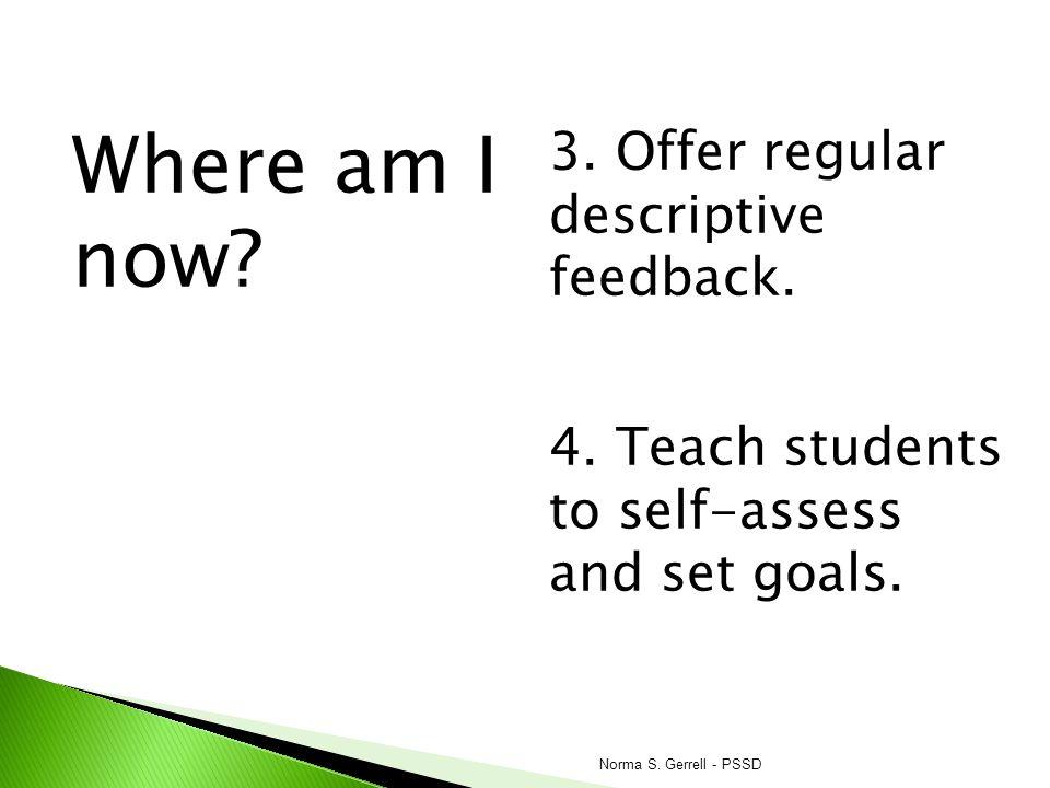 Where am I now 3. Offer regular descriptive feedback.
