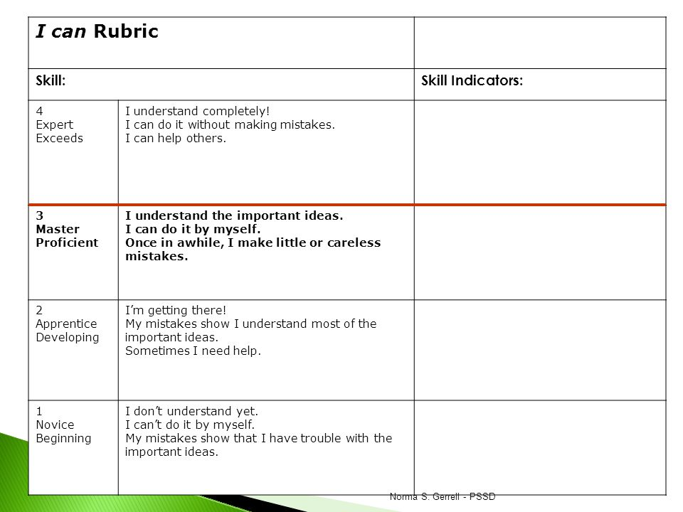I can Rubric Skill: Skill Indicators: 4 Expert Exceeds
