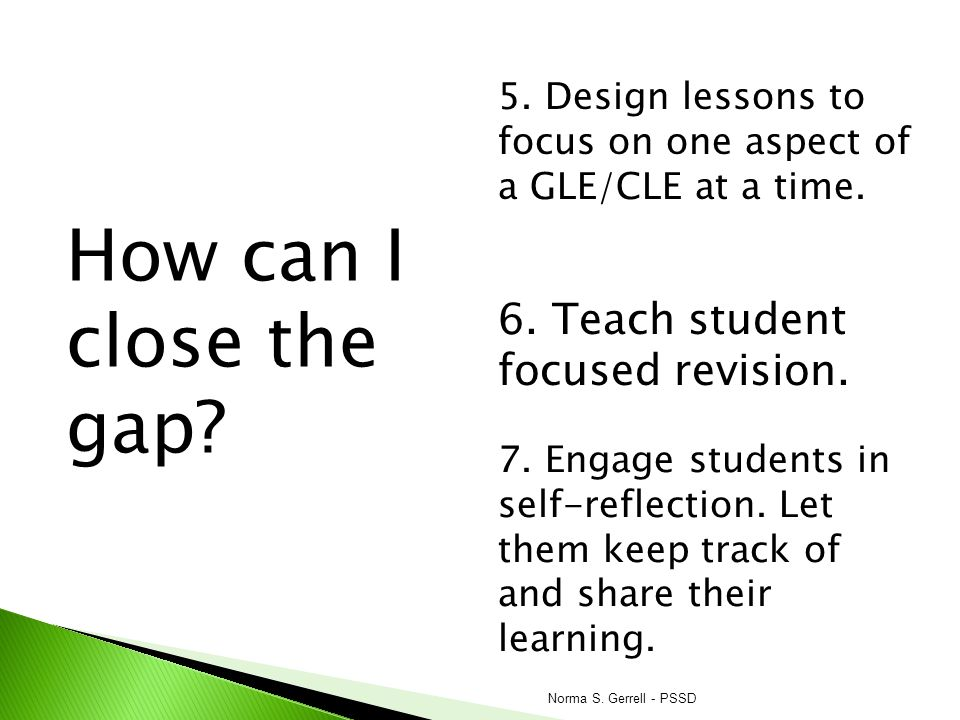 How can I close the gap 6. Teach student focused revision.