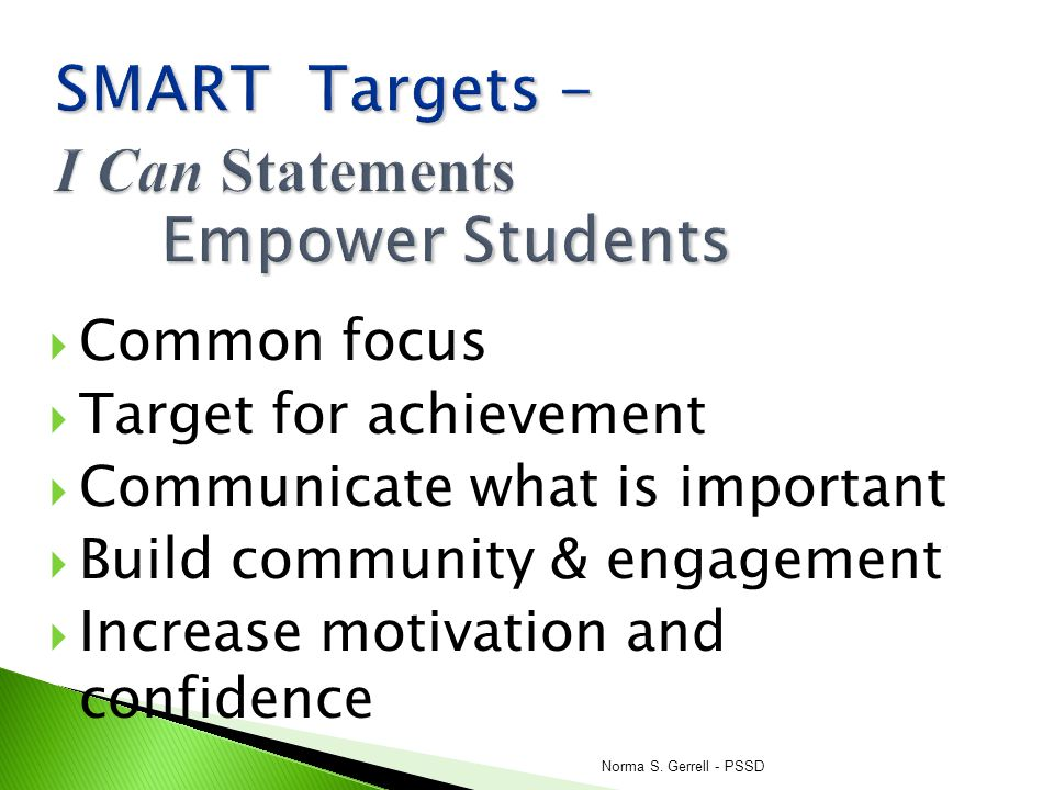 SMART Targets - I Can Statements Empower Students