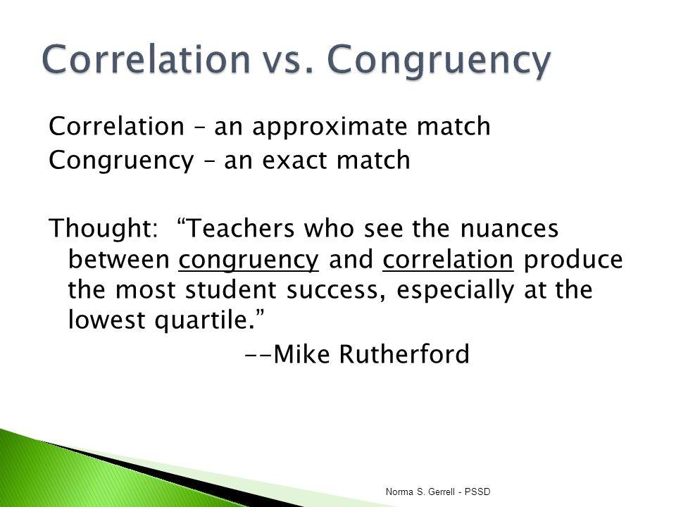 Correlation vs. Congruency