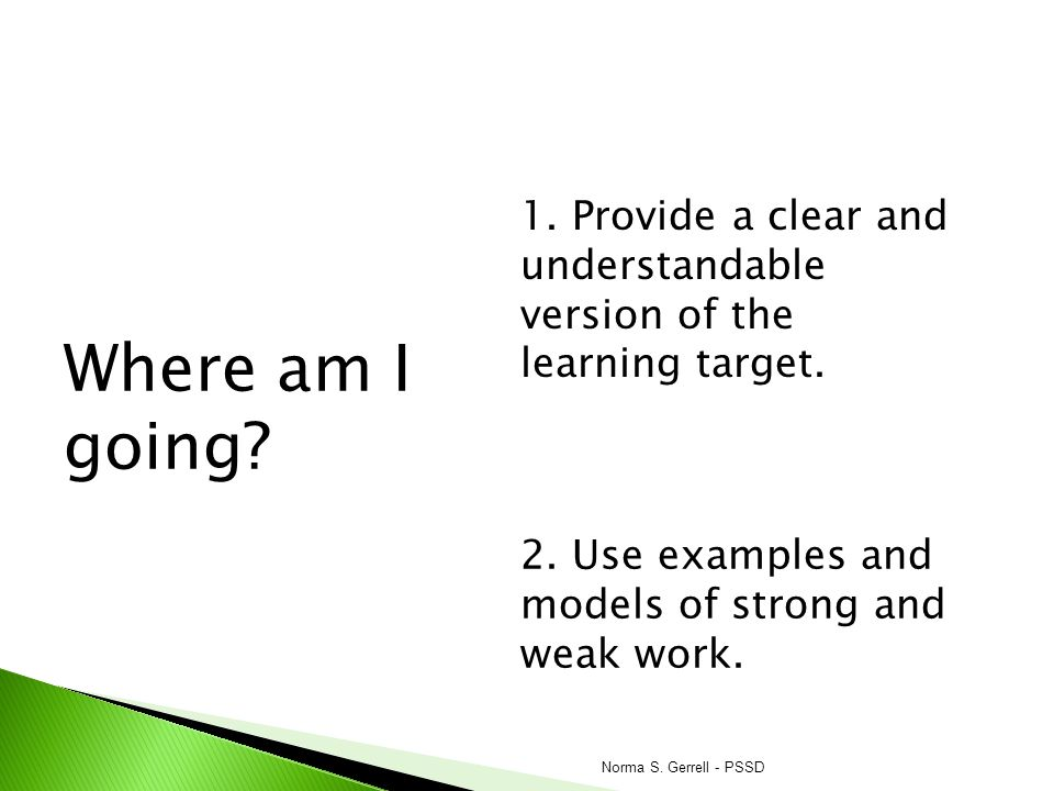 Where am I going 1. Provide a clear and understandable version of the learning target. 2. Use examples and models of strong and weak work.