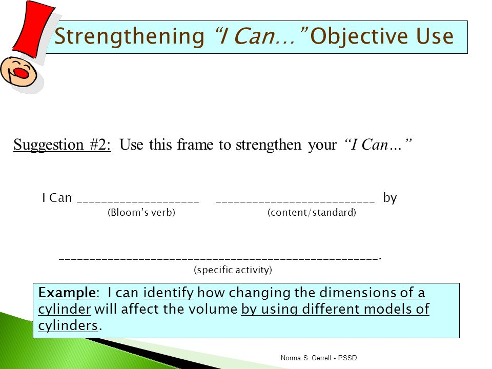 Strengthening I Can… Objective Use