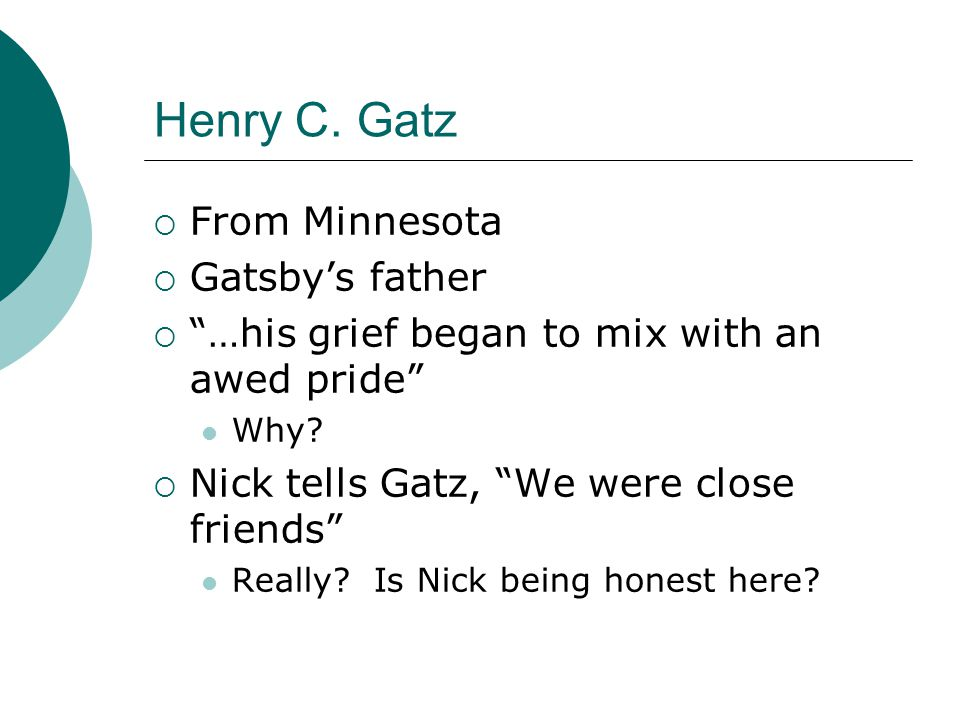 Henry C. Gatz From Minnesota Gatsby's father