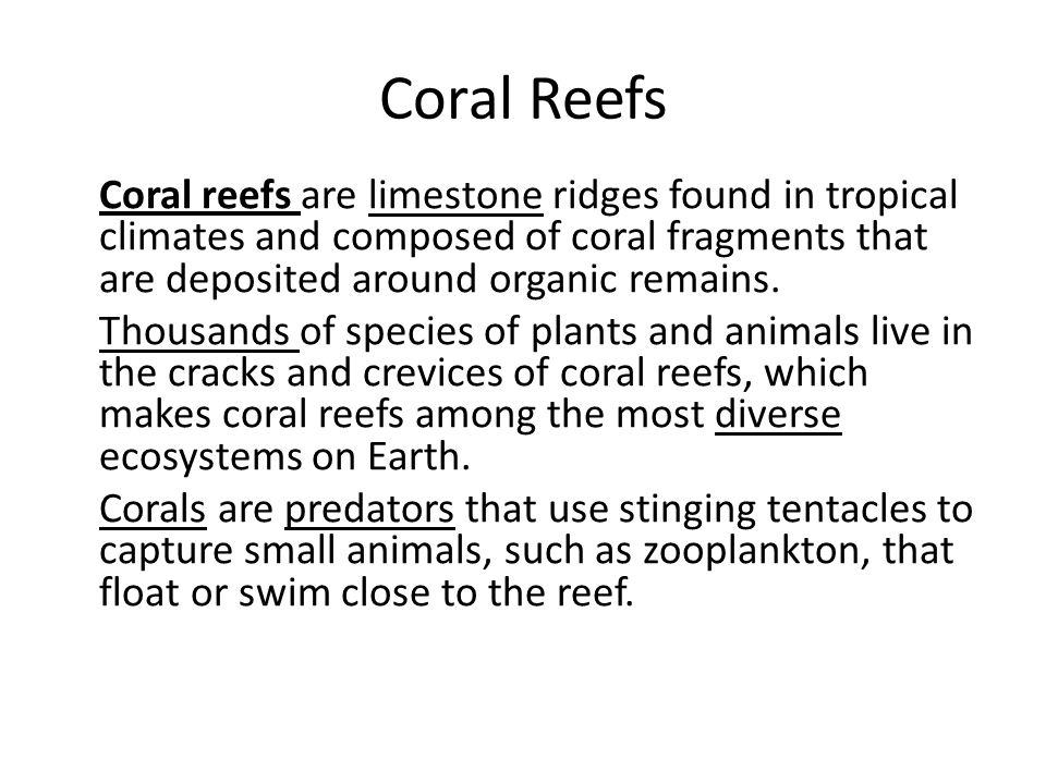 Coral Reefs Coral reefs are limestone ridges found in tropical climates and composed of coral fragments that are deposited around organic remains.