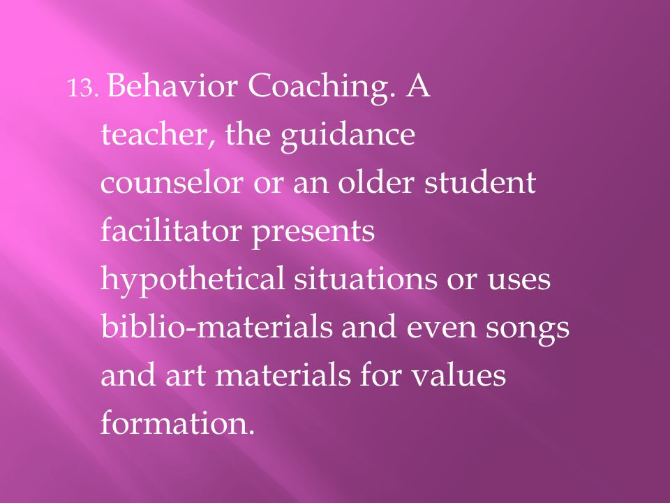counselor or an older student facilitator presents