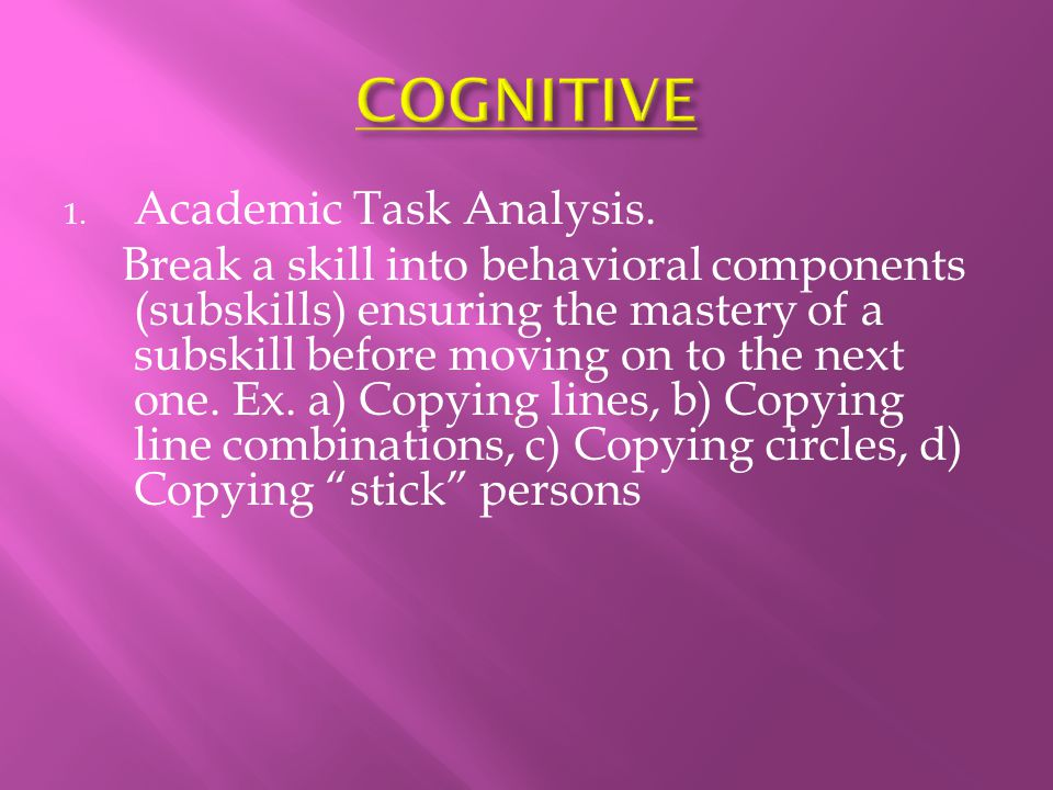 COGNITIVE Academic Task Analysis.