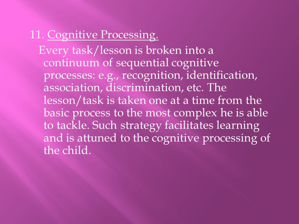 11. Cognitive Processing.