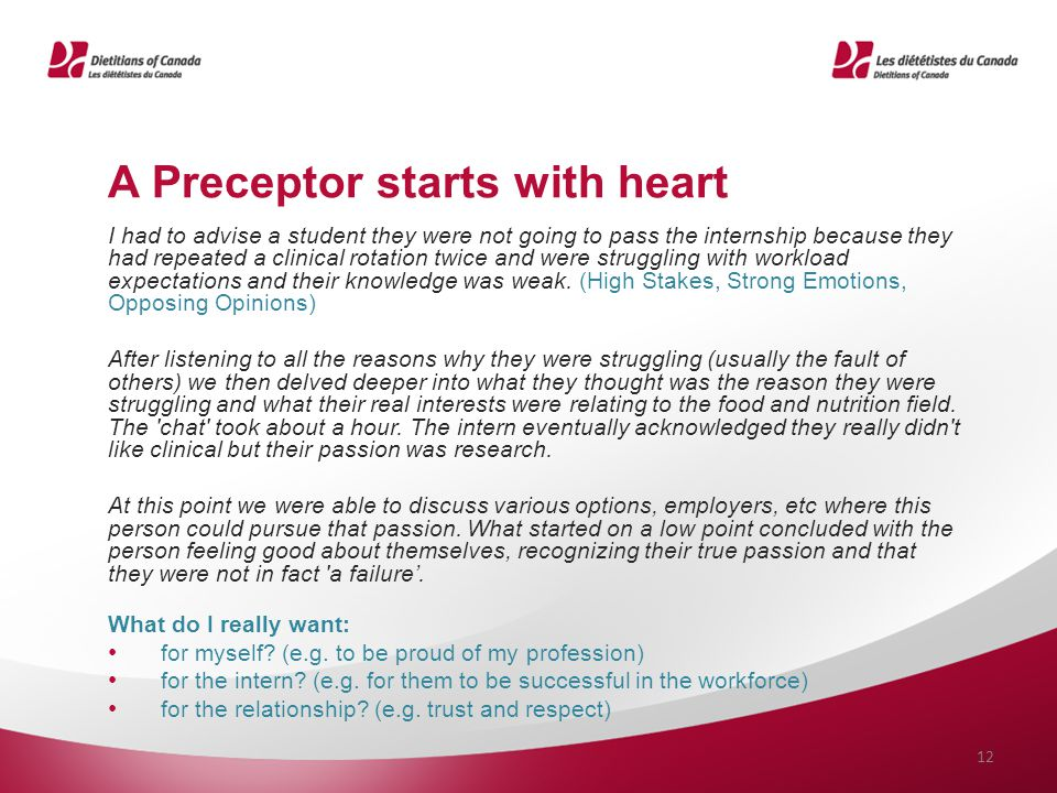 A Preceptor starts with heart